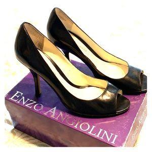 Enzo Angiolini Black Leather Peep-toe Pumps